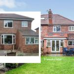 Before and after exterior shots of the extension showing the bay window replaced by a dining room with patio doors